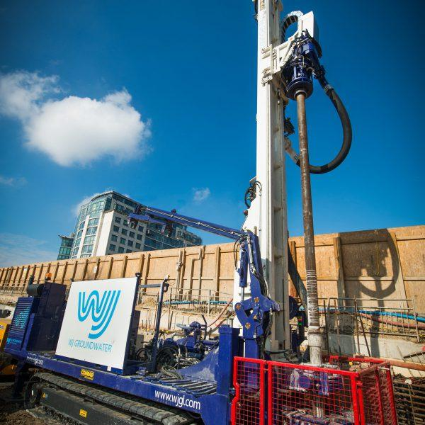Drilling rig being used on a site