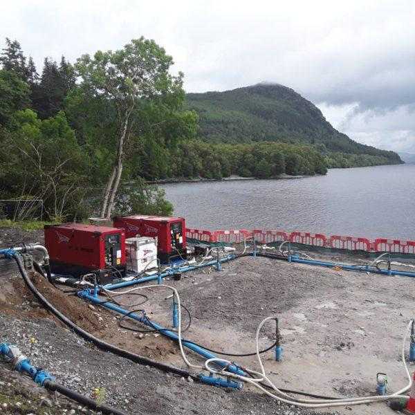 An ejector dewatering system rigged at Loch Ness