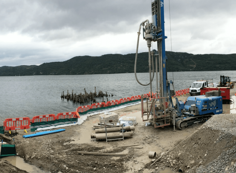 WJ Drilling Rig set up at Loch Ness