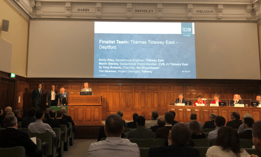 The team for Thames Tideway East – Deptford project present to the audience at the 2019 Fleming Award
