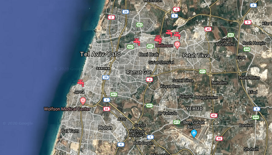 An overview of the project locations we've been involved in within Tel Aviv